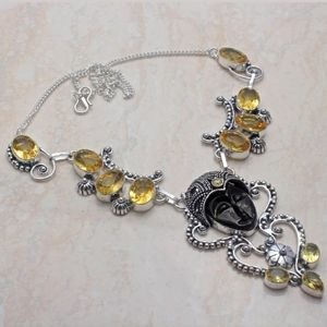New Carved Goddess Face Silver Citrine Necklace